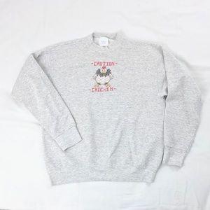 Embroidered Retro Caution Chicken Sweatshirt